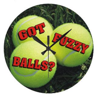 Funny Got Fuzzy Balls? Tennis Large Clock