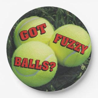 Funny Got Fuzzy Balls? Tennis Paper Plate