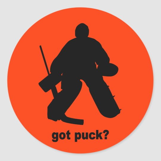 Funny got puck hockey classic round sticker