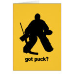 Funny got puck hockey greeting card