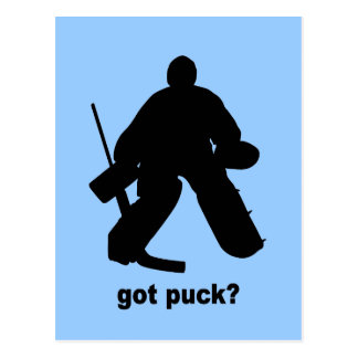Funny got puck hockey post card