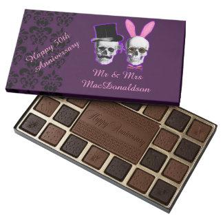 Funny goth 50th wedding anniversary personalized 45 piece box of chocolates