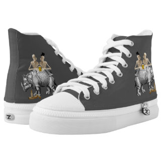 Funny gothic drinking skeletons and rhino printed shoes