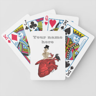 Funny gothic humor and red intage heart bicycle playing cards