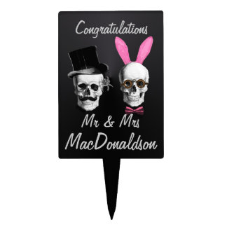 Funny gothic  mr and mrs wedding or anniversary cake topper