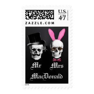 Funny Gothic Mr and Mrs wedding Postage
