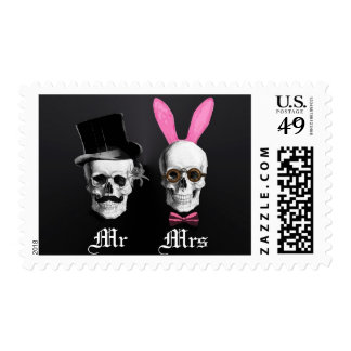Funny Gothic Mr and Mrs wedding Stamp