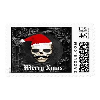 Funny Gothic Santa Christmas Postage