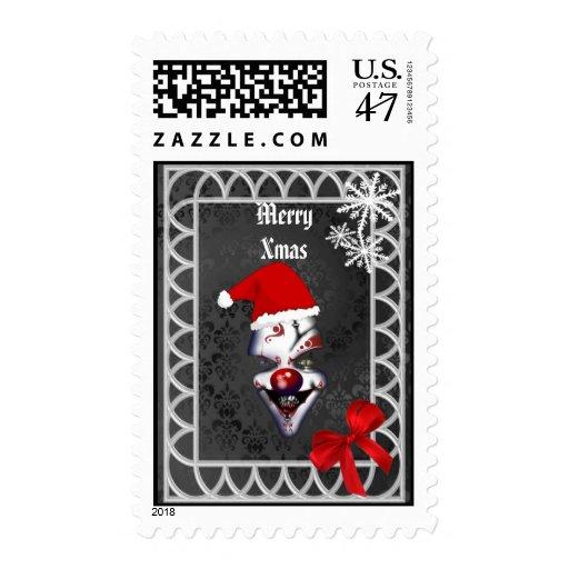 Funny Gothic Santa Christmas Stamp
