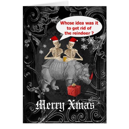 Funny  gothic skeletons black Christmas Card