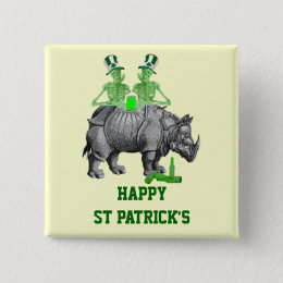Funny gothic skeletons Irish  St Patrick's day Button