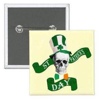Funny gothic skull Irish  St Patrick's day Button