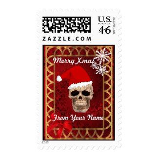 Funny gothic skull Santa christmas Postage