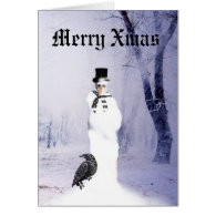 Funny Gothic Snowman Christmas Greeting Card