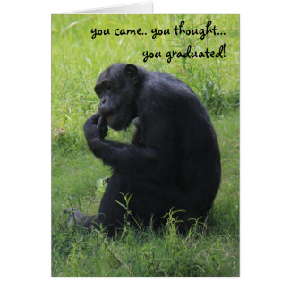 Funny Graduation Card, Chimpanzee, the Thinker