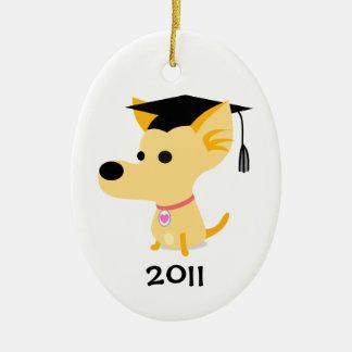 Funny Graduation Dog Ceramic Ornament