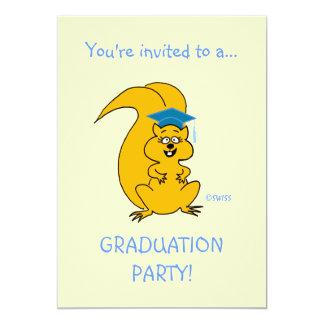 """Funny Graduation Invitation Squirrel 5"""" X 7"""" Invitation Card"""