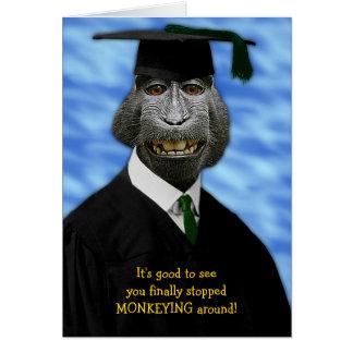 Funny Graduation Monkey Macaque Congratulations Card