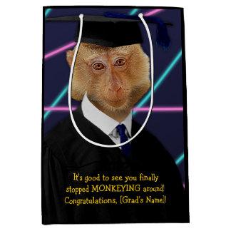 Funny Graduation Monkey Macaque Congratulations Medium Gift Bag