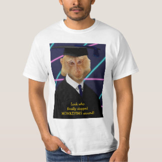 Funny Graduation Monkey Macaque Yearbook Custom T-Shirt