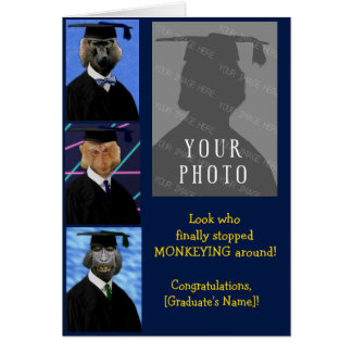 Funny Graduation Monkeys Custom Congratulations Card