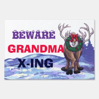 Funny Grandma X-ing with Reindeer Yard Sign