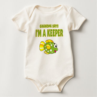 Funny Grandpa Says I'm A Keeper (Fish) Baby Bodysuit