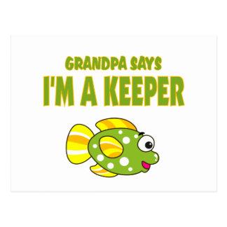 Funny Grandpa Says I'm A Keeper (Fish) Postcard