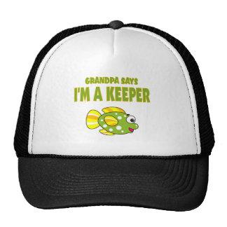 Funny Grandpa Says I'm A Keeper (Fish) Trucker Hat