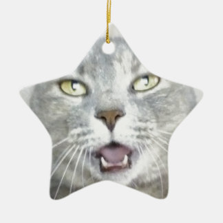 funny gray cat fluffy hilarious open mouth meow ceramic ornament
