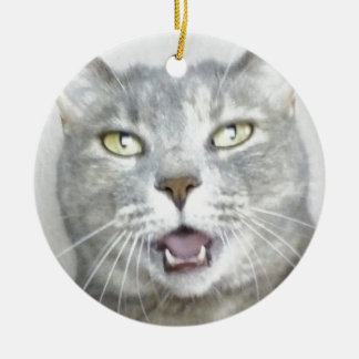 funny gray cat fluffy hilarious open mouth meow christmas ornament