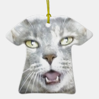 funny gray cat fluffy hilarious open mouth meow christmas tree ornament