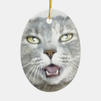 funny gray cat fluffy hilarious open mouth meow christmas tree ornaments