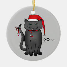Funny Gray Christmas Kitty Ceramic Ornament at Zazzle