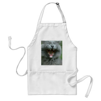 Funny Gray Long haired Cat Yawning big Adult Apron