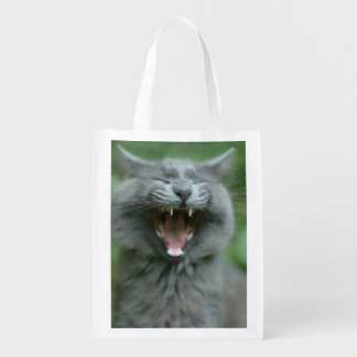 Funny Gray Long haired Cat Yawning big Grocery Bags