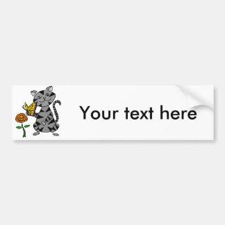 Funny Gray Tabby Cat Holding Butterfly Bumper Sticker