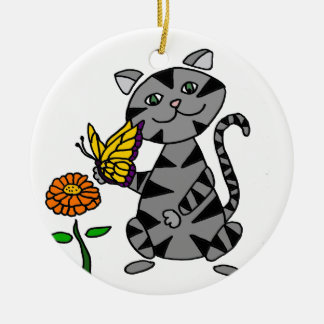 Funny Gray Tabby Cat Holding Butterfly Ceramic Ornament