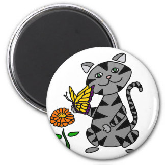 Funny Gray Tabby Cat Holding Butterfly Magnet