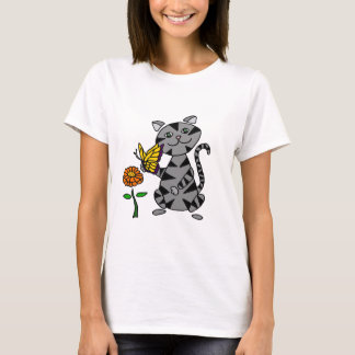 Funny Gray Tabby Cat Holding Butterfly T-Shirt