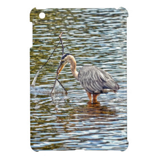 Funny Great Blue Heron Playing with Branch iPad Mini Case