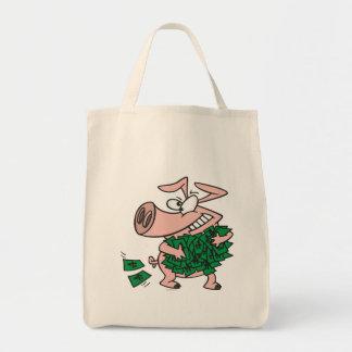 funny greedy money hog piggy pig bags