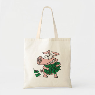 funny greedy money hog piggy pig canvas bag
