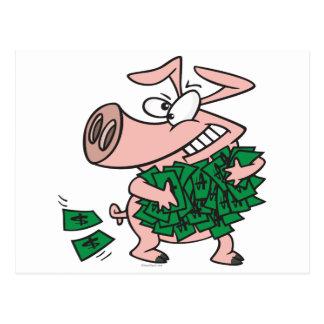 funny greedy money hog piggy pig postcard
