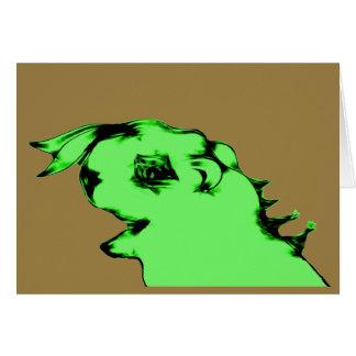 Funny Green Alien Creature Card