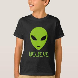 Funny green alien head t shirt for kids