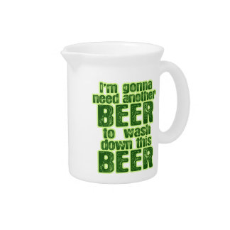 Funny Green Beer Day Beverage Pitcher