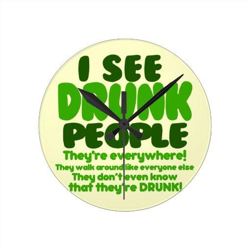 Funny Green Beer Day Humor Round Wallclocks