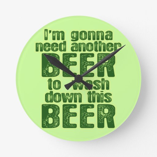 Funny Green Beer Day Round Wall Clocks