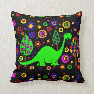 Funny Green Brontosaurus Dinosaur Abstract Art Pillow